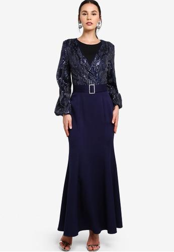 Zalia blue Overlay Sequin Dress F06A0AA22DB071GS_1