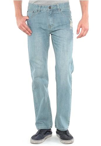 POLO HAUS blue Polo Haus - Straight Cut Long Jeans (Light Blue) PO783AA80FSHMY_1