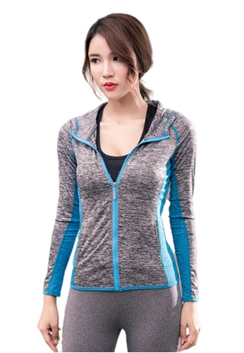 B-Code blue ZYG3052-Lady Quick Drying Running Fitness Yoga Sports Jacket -Blue C9183AA68CD7D1GS_1