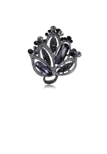 Glamorousky black Fashion and Elegant Geometric Flower Brooch with Black Cubic Zirconia 96579AC206BA4FGS_1