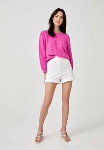 Love, Bonito pink Lynette Textured Knit Sweater BC532AAB6B0804GS_1
