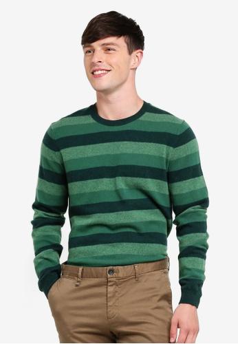 United Colors of Benetton 綠色 雙色深淺條紋針織衫 6857AAA580419AGS_1