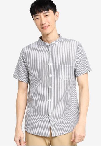 ZALORA BASICS black Short Sleeve Stand Collar Shirt 71519AA4F5F242GS_1