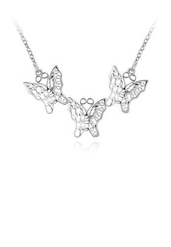 Glamorousky silver Elegant Hollow Butterfly Necklace BF2A8ACD1F2357GS_1