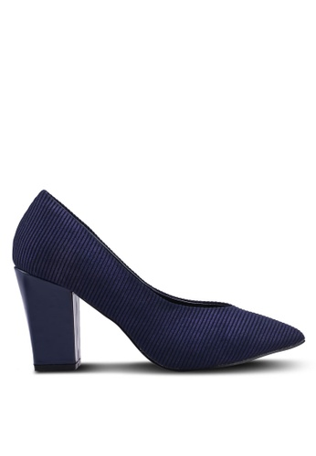 Nose 海軍藍色 V Cut Chunky Heel Pumps 72273SHADACD7BGS_1