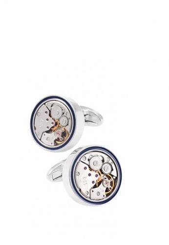 Kings Collection silver Line Mechanical Watch Cufflinks C6C8FAC589B7DAGS_1