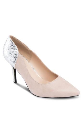 燙金拼接尖頭高跟鞋, zalora 台灣女鞋, 厚底高跟鞋