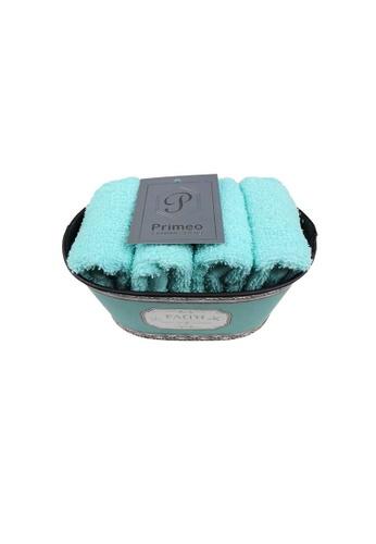Primeo green Premium 1Aqua Hand Towel Set With Basket 300gsm Soft High Absorbent Beige Set of 4 0E228HLD7B607FGS_1