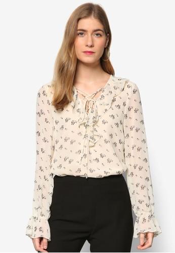 Premium 繫帶V 領荷esprit分店葉飾印花上衣, 服飾, 上衣