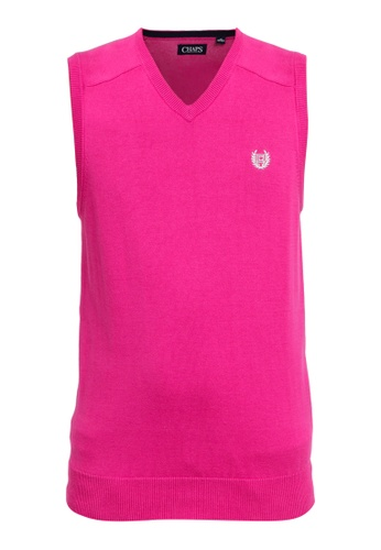 Chaps pink Chaps Cotton Sweater Vest FB9D3AA79DB163GS_1