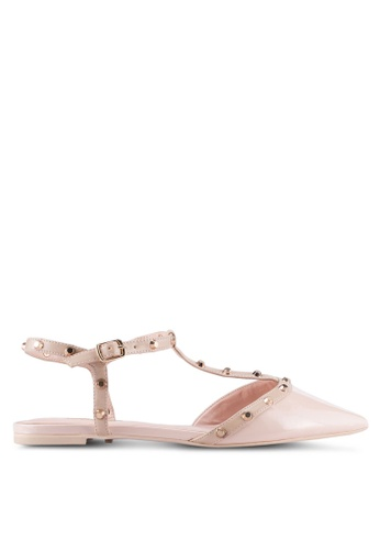 Dune London pink Studded Open Back Flats DU588SH0SZRPMY_1