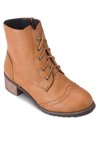 沖esprit門市地址孔雕花繫帶短靴, 女鞋, 鞋