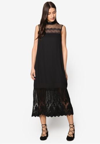 Premium 高領蕾絲及膝洋裝、 服飾、 洋裝ZALORAPremium高領蕾絲及膝洋裝最新折價