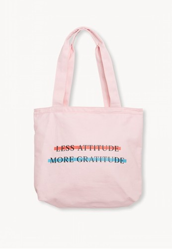 Pomelo pink Less Attitude More Gratitude Tote Bag - Pink D9B5BACD92A2A2GS_1