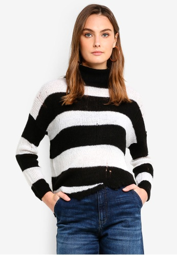 Sisley white Striped Asymmetric Sweater B83EAAA548B675GS_1