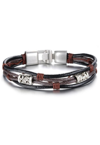 YOUNIQ silver and brown YOUNIQ Handmade Fashion Leather Bracelet  Wristband For Men (Silver) 76404ACD69DF7BGS_1