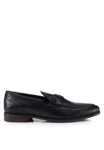 Burton Menswear London black Black Leather Formal Loafers B2B9CSH32FD675GS_1