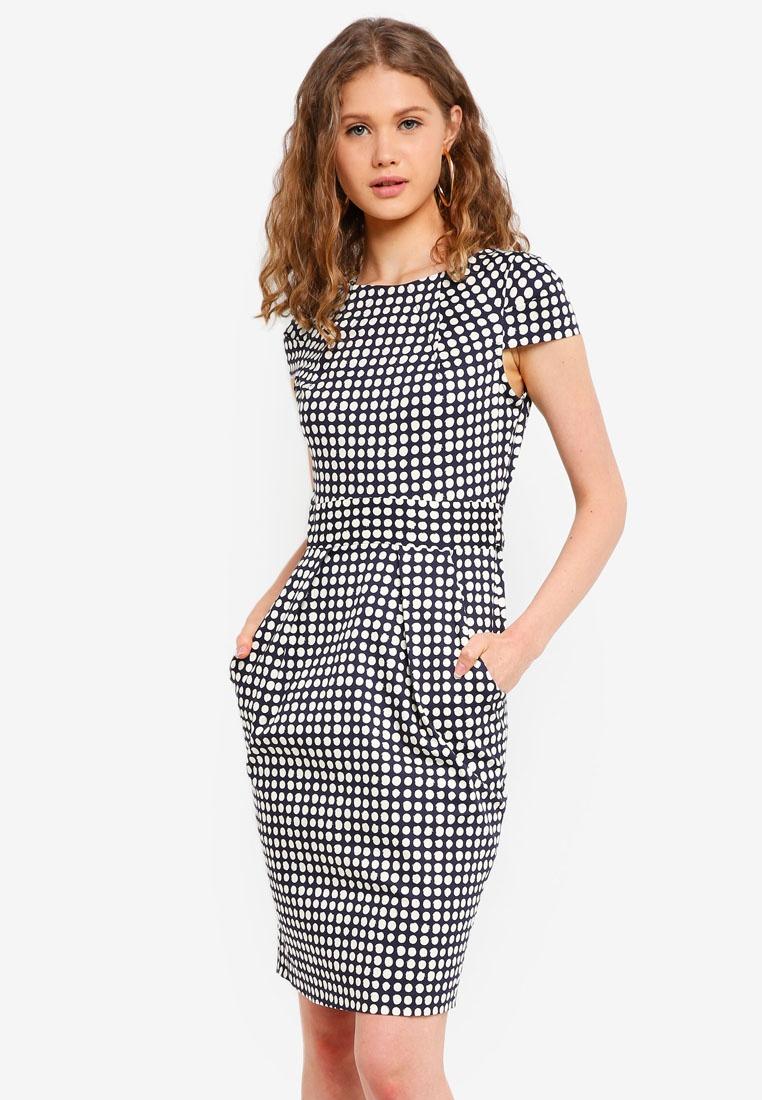 Back Tie CLOSET Navy Dress Tulip 5BqAnFx5
