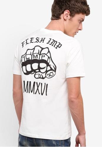 Flesh IMP 白色 Knuckle 圖文設計TEE FL064AA44PBVMY_1