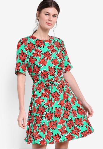 WAREHOUSE green Woodblock Daisy Flippy Dress WA653AA67LDWMY_1