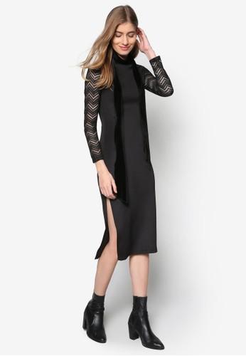 蕾絲拼袖緊身及膝洋裝,esprit 香港 outlet 服飾, 洋裝