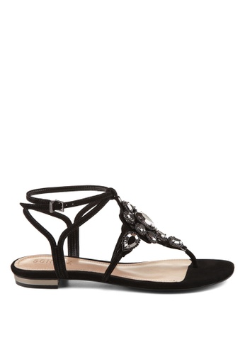 Covet black Schutz Laura Thong Flat Sandals CO331SH78HGBPH_1