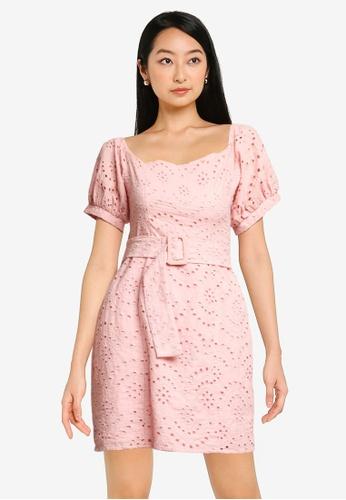 ZALORA BASICS 粉紅色 Square Neck Dress DB2B3AA2E68352GS_1