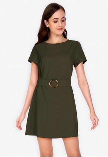 ZALORA WORK green Mini Sheath Dress With Buckle Detail 6891EAA04BB730GS_1