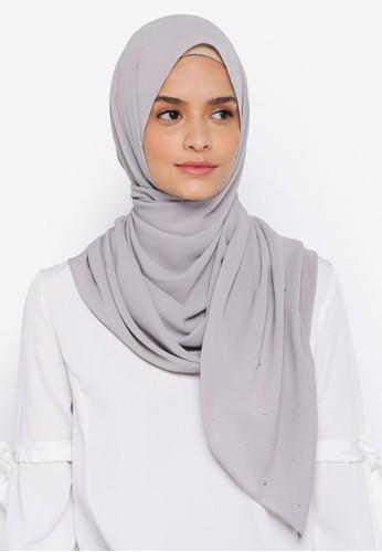 Lubna grey Chiffon With Crystal Shawl 82903AAC36AF2FGS_1