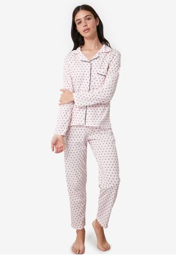 Trendyol pink Printed Knit Pajama Set Powder 591E2AAD53C8ABGS_1