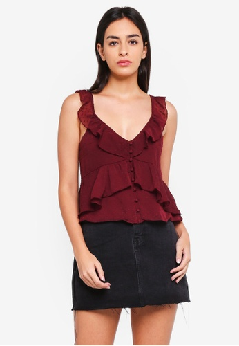 Abercrombie & Fitch red Ruffle V-Neck Shell Top AB2AAAABD57AB6GS_1