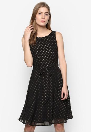 閃飾波點無袖修身喇叭連身裙esprit au, 服飾, 洋裝
