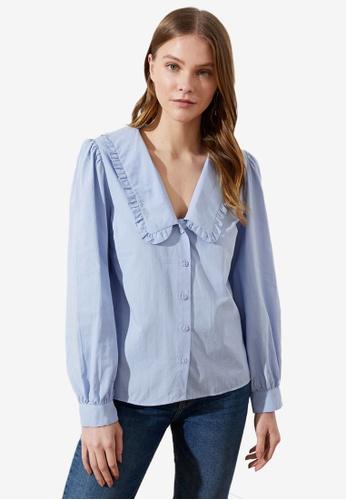 Trendyol blue Oversized Collar Detail Shirt EE29AAA856A5A6GS_1