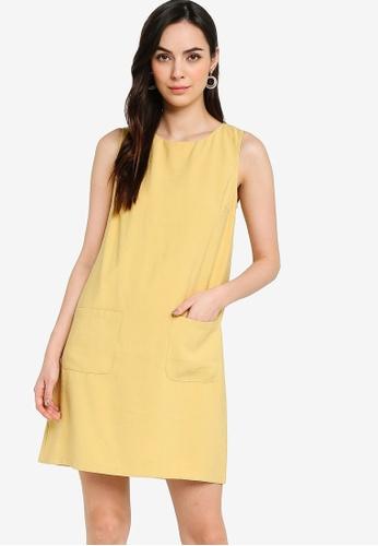 ZALORA WORK yellow Textured Shift Dress 42E70AA45A752CGS_1