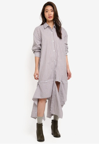 Stylenanda brown Uneven Hem Oversized Shirt Dress 60C7BAAA6AD8B4GS_1