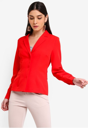 ZALORA 紅色 Casual Blazer Top With Self Tie 60698AA94B1481GS_1