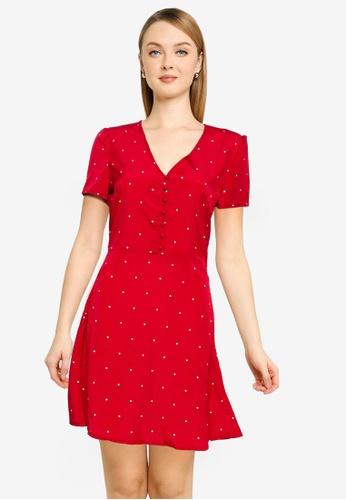 MISSGUIDED red Half Button Tea Dress F2256AA11B672FGS_1