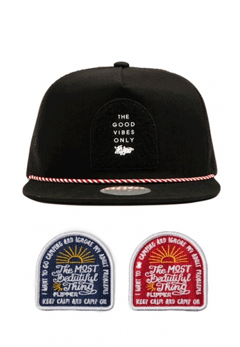 DOSSCAPS black and red and blue FLIPPER Cave Patch Meshback Snapback III DO290AC0SBXNMY_1