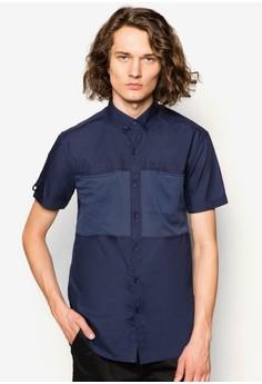 Mesh Hidden Patch Pocket Short Sleeve Shirt