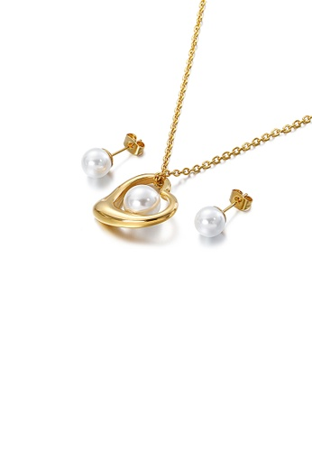 Glamorousky white Fashion and Simple Plated Gold Heart-shaped White Imitation Pearl 316L Stainless Steel Necklace and Stud Earrings Set 16637AC5E63632GS_1