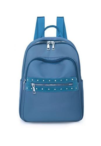 Lara blue Women's Nylon Water Repellent Zipper Backpack - Blue EE58FACFC1C0BCGS_1