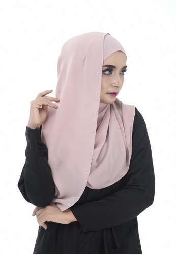 Dreamyza pink and beige Hana Crystal Beads Long Shawl in Cotton Candy 7E449AA931B5ABGS_1