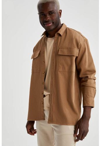 DeFacto brown Long Sleeve Cotton Shirt CF5BCAAD1CCCEFGS_1