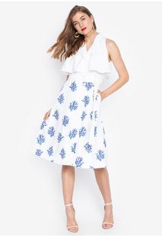 7abbda58b6 Plains   Prints white and blue and multi Sleeveless Dress 7CE29AAF9781E5GS 1
