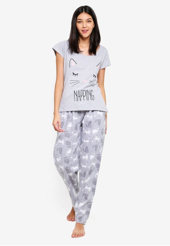 Dorothy Perkins grey Grey Napping Cat Pyjamas 7EE1AAAB326ECBGS_1