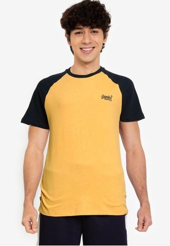 Superdry yellow Orange Label Baseball Short Sleeve Tee - Original & Vintage FBACCAA9AC9EF9GS_1
