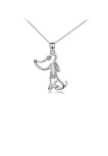 Glamorousky white 925 Sterling Silver Simple Cute Dog Pendant with Cubic Zirconia and Necklace 1FC7FACDF11969GS_1