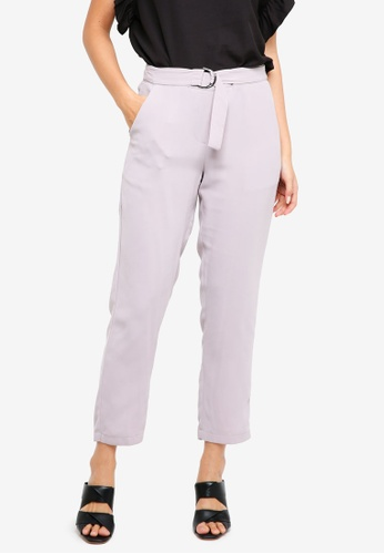ZALORA BASICS grey D-Ring Belted Trousers 640CFAA4CB379AGS_1