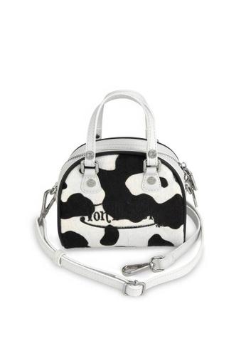 Von Dutch black and white Von Dutch Black & White Cow Print Pony Hair Leather Micro Mini Bowling Bag F1A6BAC133B53FGS_1