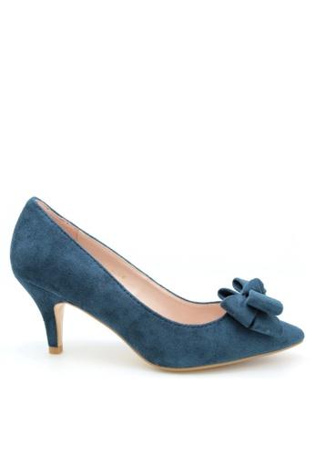 PRODUIT PARFAIT blue Suede Bow Stiletto Heel Pumps 7D9AESHE6407EFGS_1